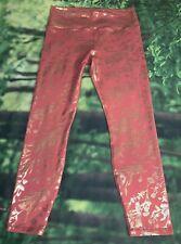 Guru G Active High Waist Fitness Gym 7/8 Legging Coral W/Gold Flowers Sz L