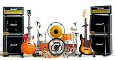 Led Zeppelin Miniature Guitars and Drum Set D with Timpani, Gong, Amps & Mic