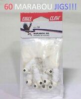 60 Eagle Claw Sz.10, 1/16oz. White Marabou Jigs (M1016-1) EB190302