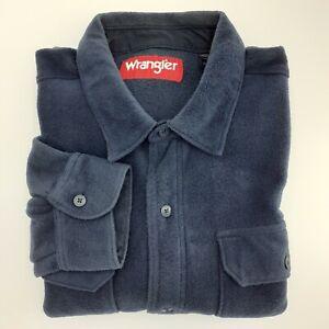 Wrangler Fleece Shirt Mens XL Navy Long Sleeve Button Down Dual Flap Pockets