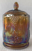 Vintage Marigold Carnival Glass Canister Jar & Lid Harvest Grape Indiana Glass
