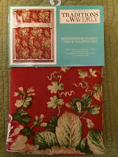 Traditions by Waverly Red Bridgewater Floral Tier & Valance Set - New - Very Nic
