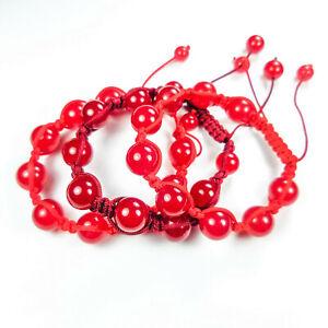 Gemstone Bracelet Lot (Set of 3) Red Stone Beaded Adjustable Jewelry Bangle CC8A