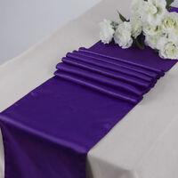 "10PC 12"" x 108"" Satin Table Runner Sash Wedding Venue Decoration- Cadbury Purple"
