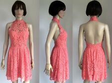 ASOS Coral Backless High Neck Halterneck Lace Skater Short Occasion Dress BNWT 8