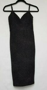 Miss Selfridge Black & Silver Evening Dress Size 8 Stretch Bodycon Party Dress