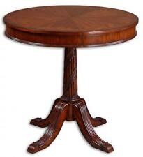 Luxe Antique Style PEDESTAL TABLE Inlaid Wood Veneer CHERRY Vines