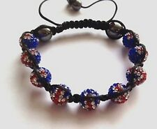 GB UNION JACK FLAG SHAMBALLA BRACELET- MACRAME-9 DISCO BEADS -CZECH CRYSTAL-UK