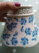 LARGE BLUE AND WHITE FLORAL YANKEE CANDLE SHADE