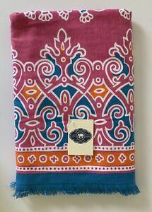 John Robshaw MAAHI Beach Towel Pink, Blue, Orange, White Cotton 36 x 70 NEW