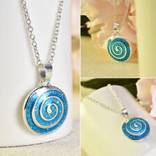 Woman Blue Fire Opal Silver Plated Chain Pendant Necklace Jewelry Gift