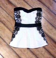 STUDIO Y Maurices ~ New! NWT Small ~ Strapless Lace Trimmed PEPLUM Ruffle Top