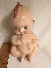 """Vintage Ceramic Kewpie Baby,With Blue Eyes 7"""" Tall 4"""" wide"""