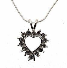 Open Heart Necklace Heart Pendant Clear Heart Jewellery 114311