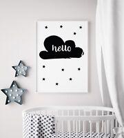 Hello Cloud Black White Baby Kids Unisex Play Room Nursery Wall Art Colour Print