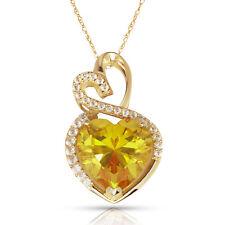 4.20CT Halo Citrine Double Heart Gemstone Pendant & Necklace14K Yellow Gold