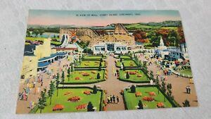 Vintage Postcard View of Mall & Roller Coaster  Coney Island  Cincinnati Ohio