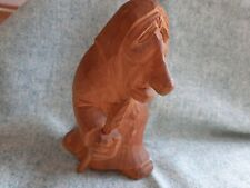 Hand Carved Wood Old EUROPEAN WOMAN w Spear