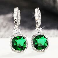 18K White Gold Filled Made With SWAROVSKI Crystal Cushion Cut Huggie Earrings