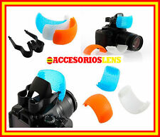 DIFUSORES DE  3 COLORES FLASH PARA CAMARAS REFLEX