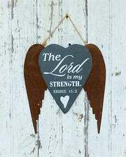 New Rustic THE LORD IS MY STRENGTH Rusty Angel Wings Slate Sign Wall Hanging