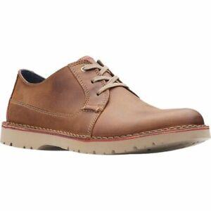 Clarks Men Plain Toe Casual Derby Oxfords Vargo Plain US 7.5M Dark Tan Leather