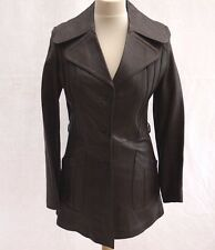 70's VINTAGE LADIES FITTED INDIE MOD STYLE BROWN LEATHER FASHION JACKET COAT 6-8