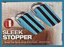 2 Sleek Stopper Door Stop Wedge - Works On All Floor Types - Blue New in box!