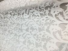 "White Velvet Luxor Vine Lace Fabric 55"" Inches Wide Fabric Sold By The Yard"