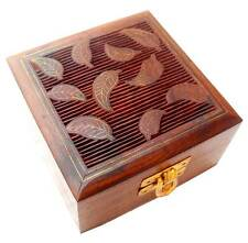 Leaf Design square shaped Jewelry Trinket box with brass inlay from India