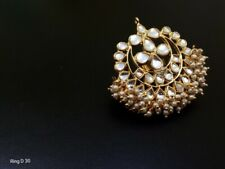 Indian Bollywood Fashion Party Wear Gold Plated Adjustable Size Kundan Rings E46