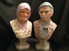 "Vintage Old World European Peasant Couple Ceramic Busts Figures 10"" Decor Gift"
