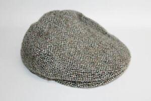 HARRIS TWEED Men's Brown & Grey Wool Herringbone Kinloch Flat Cap Hat One Size