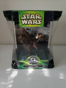 """2001 STAR WARS SILVER ANNIVERSARY HAN SOLO & CHEWBACCA 3.75"""" ACTION FIGURE"""