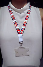 Union Jack Lanyard with metal clip - ideal for ID badges - 80cm x 2cm - White