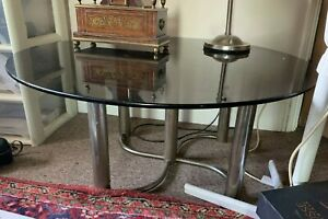 Vintage 1960s Chrome And Tinted Brown Glass Round Coffee Table .