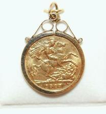 22k Gold 1907 Half Sovereign Coin Pendant / Saint George Slaying Dragon /Genuine
