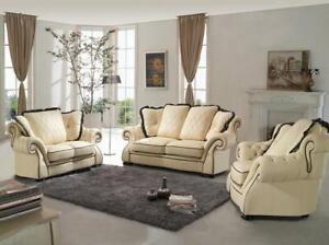 Klassische Couchgarnitur Sofa Polster Sitz Leder Garnitur 3+2+1 Sofas Couchen