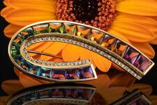 Schmuck Regenbogen Brosche mit Farbedelsteinen Brillanten Nadel in Gelbgold 750