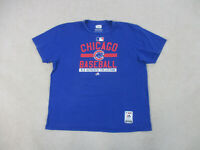 Majestic Chicago Cubs Shirt Adult 2XL XXL Blue Red MLB Baseball Cotton Mens B15*