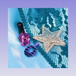 ❤️BRATZ TREASURES SASHA 1 Single Purple Black Striped Hoop Earring Replacement❤️