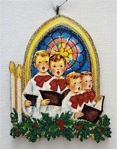CHOIR BOYS, CANDLES, STAINED GLASS WINDOW *  Glitter CHRISTMAS ORNAMENT  Vtg Img