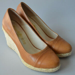 Ladies Russell & Bromley Tan Brown Leather Espadrille Wedge Shoes Size UK 3