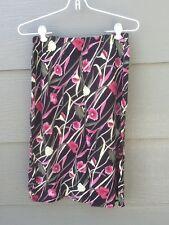 Knee Long Summer Skirt Sz 6 Rayon Black Pink Yellow Green Floral Elastic Waist