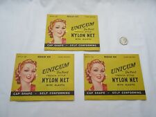 Vintage American Unicum Du Pont nylon hair net regular size dark brown x3 NOS  .