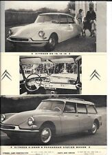 CITROEN DS 19 AND ID 19 CAR SALES 'BROCHURE'/SHEET @ 1960
