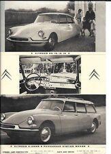 CITROEN DS 19 AND ID 19 CAR SALES 'BROCHURE'/SHEET @ 1960