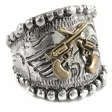Western Cowgirl Stretch Ring Pistol Dual Gun Angel Wings Patina Silver Copper