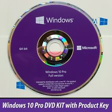 Microsoft Windows 10 Pro 64bit DVD or No DVD + Product License Key COA