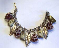 Vintage Leaves & Brown Glass Charm Bracelet